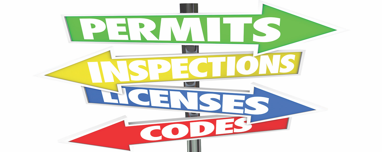 signs with permits, inspections, licenses and codes