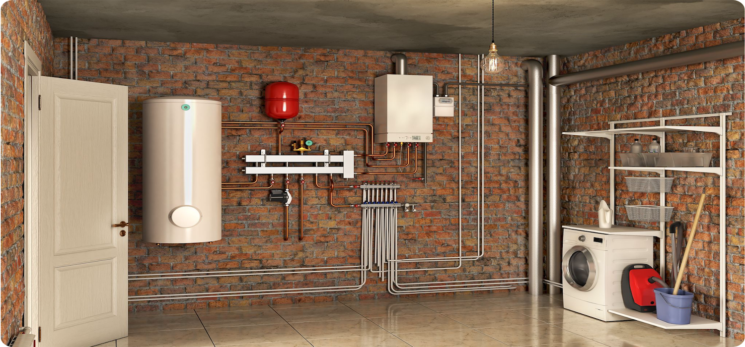 electric hot water heater in a laundry basement