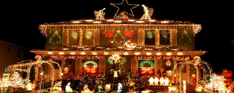 Christmas lit house