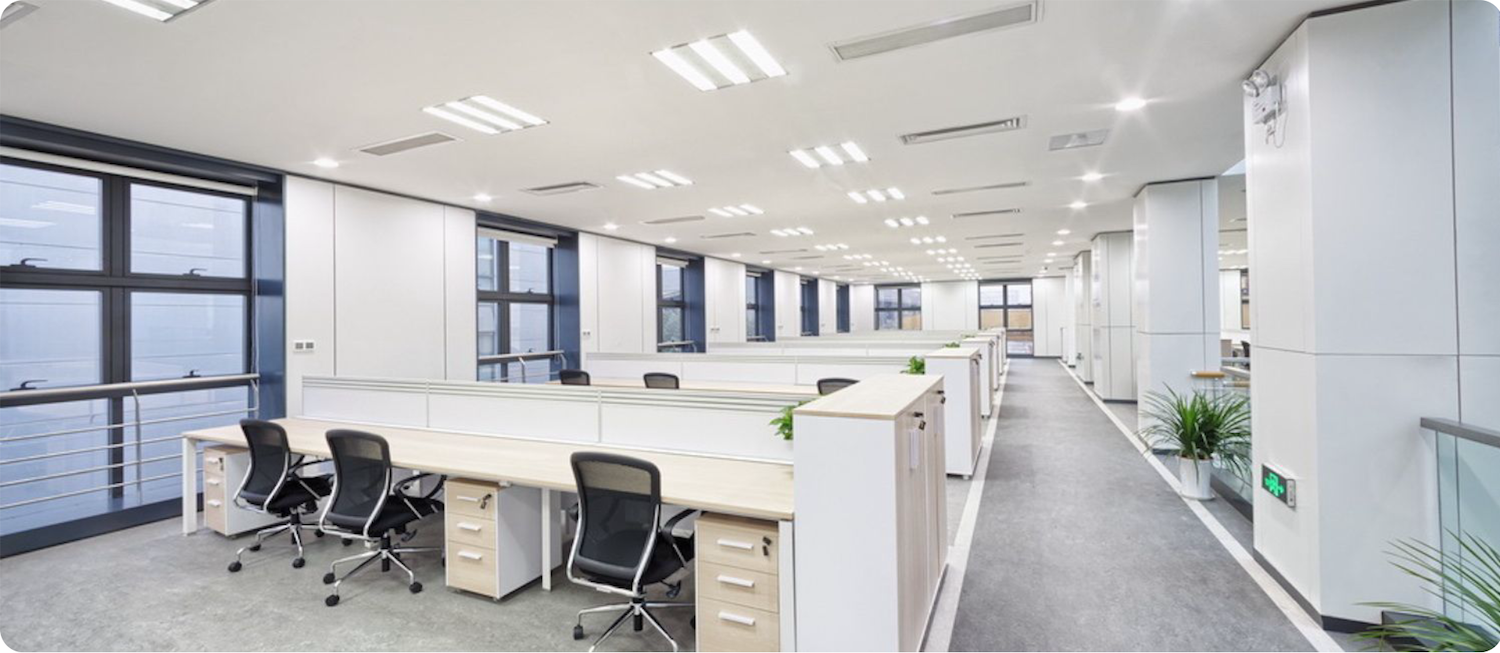 office lighting supported by commercial electrical panel